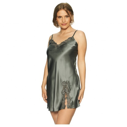 Lady Avenue Pure Silk Slip Lace Nattlinne Olive S
