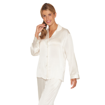 Lady Avenue Pure Silk Pyjamas Off-white
