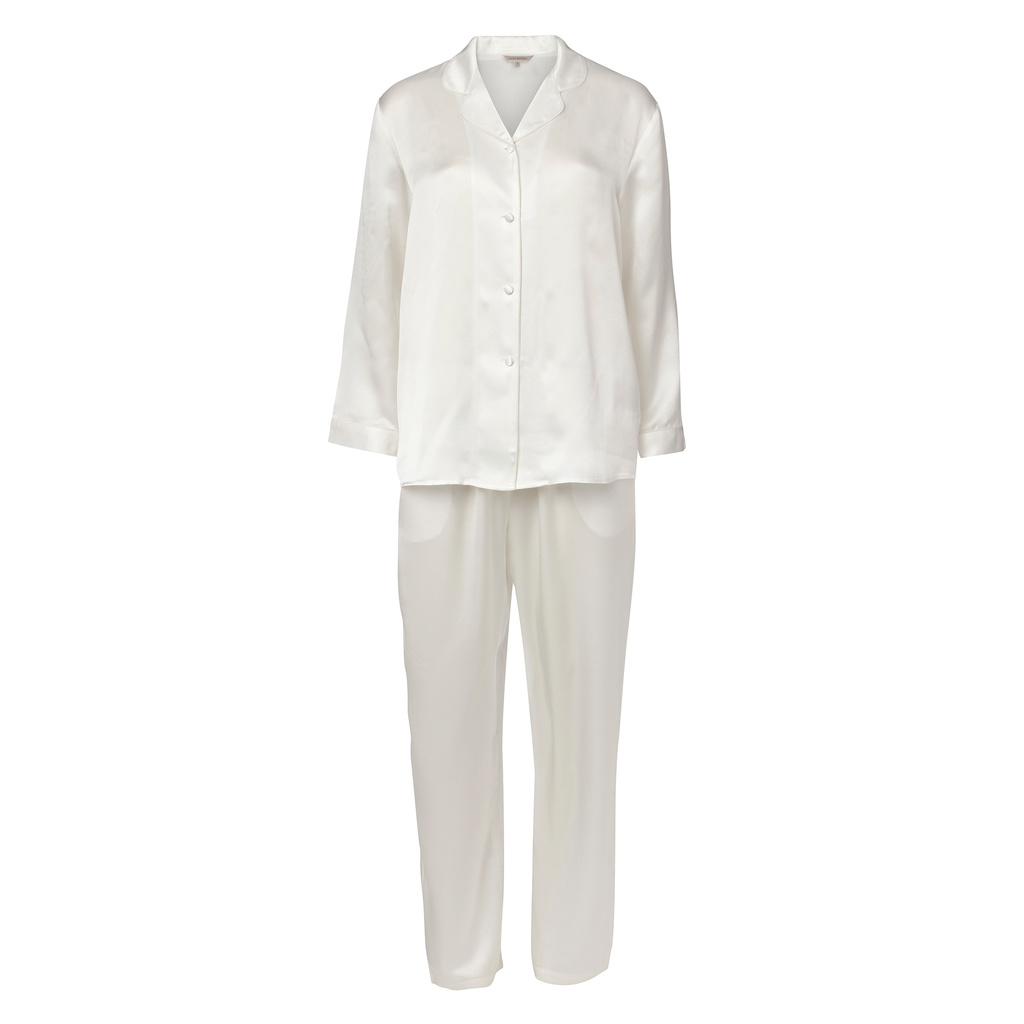 Lady Avenue Pure Silk Basic Pyjamas Off-white XS