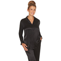 Lady Avenue Pure Silk Basic Pyjamas Black