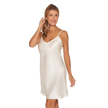 Lady Avenue Pure Silk Slip Nattlinne Smala Band Off-white