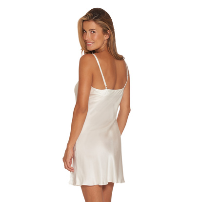 Lady Avenue Slip Dress Pure Silk Off-white