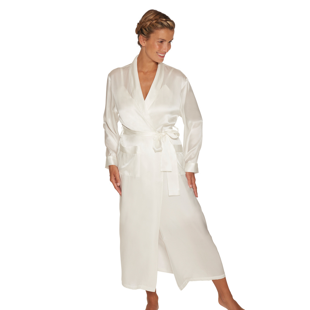 Lady Avenue Pure Silk Long Robe & Kimono Off-white