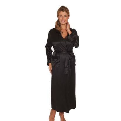 Lady Avenue Pure Silk Long Robe & Kimono Black