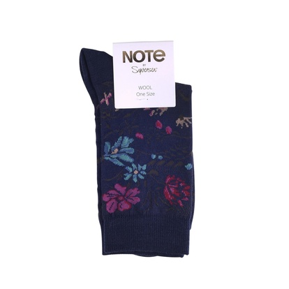 Note Strumpor Flower Wool Navy 36-41