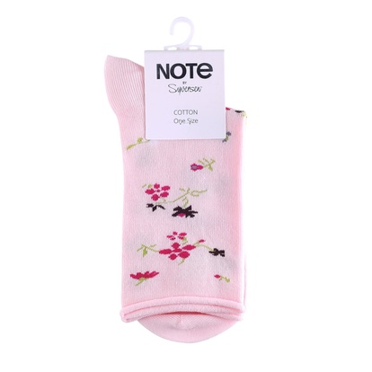 Note Strumpor Flowers Cotton Pink One size