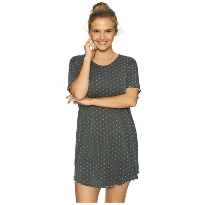 Bamboo Short Ärm Nattlinne Grey Rose Dots