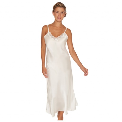 Lady Avenue Long Nightgown Pure Silk Off-white