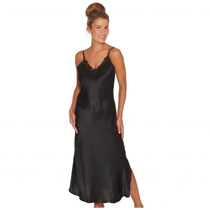 Lady Avenue Long Nightgown Pure Silk Black